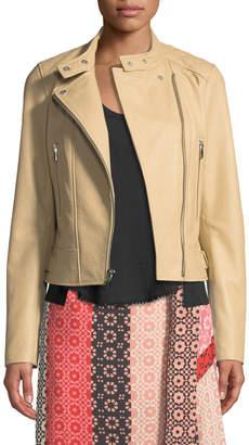 Derek Lam 10 Crosby Granulated Leather Zip-Front Moto Jacket