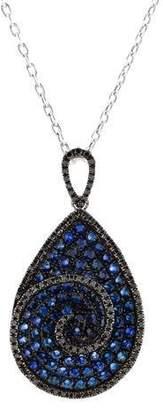 Black Diamond 18K Sapphire & Pendant Necklace