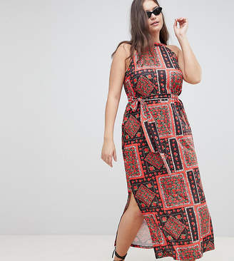 Asos DESIGN Curve scarf print maxi sundress with belt