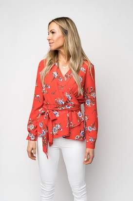 Gibson Faux Wrap Blouse with Tie Waist