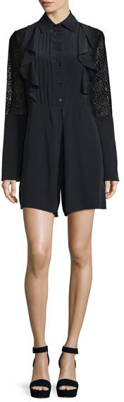 See By Chloe See by Chloe Long-Sleeve Poplin Lace-Trim Romper, Black