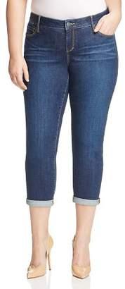 SLINK Jeans Plus SLINK Jeans Amber Boyfriend Roll-Cuff Jeans in Dark Blue
