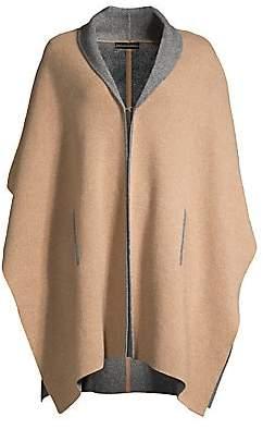 Sofia Cashmere Women's Doubleface Cashmere Shawl Collar Knit Cape