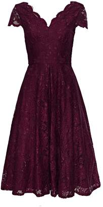 WallisWallis **Jolie Moi Burgundy Lace Prom Dress