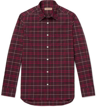 Burberry Checked Cotton-Poplin Shirt - Men - Red
