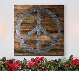 Pottery Barn Glitter Peace Sign Art