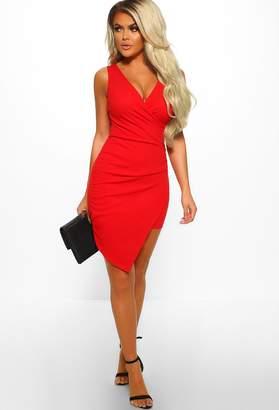 a437d99a845c Pink Boutique Secret Crush Red Asymmetric Wrap Mini Dress