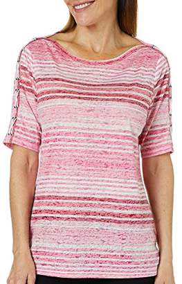 Erika Women's Aubree Lace Up Striped Top