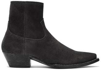 Saint Laurent - Lukas Western Suede Ankle Boots - Womens - Black