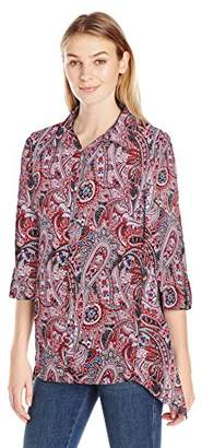Notations Women's Plus Size Long Rolled to 3/4 Sleeve Printed Y Neck Sharkbite Blouse