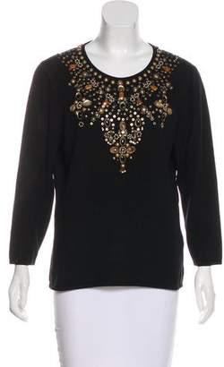 Oscar de la Renta Embellished Cashmere Knit Top
