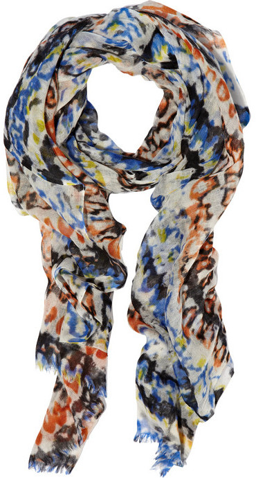Lily and Lionel Watercolor-print wool scarf