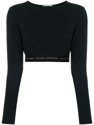 Chiara Ferragni cropped logo waistband top
