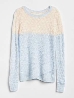 Gap Eyelet Colorblock Sweater
