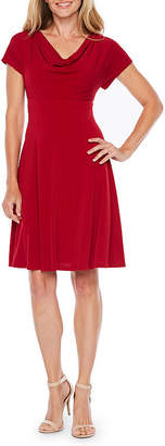 London Times Short Sleeve Fit & Flare Dress