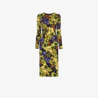 Dolce & Gabbana Grape and Floral Print Midi-Dress