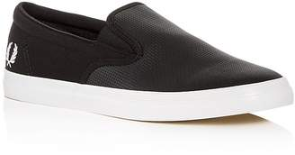 Fred Perry Men's Underspin Perforated Leather & Canvas Slip-On Sneakers