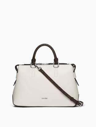 Calvin Klein saffiano leather monogram satchel