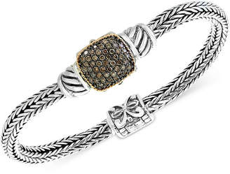 Effy Balissima by Diamond Cluster Two-Tone Bracelet (5/8 ct. t.w.) in Sterling Silver and 18k Gold