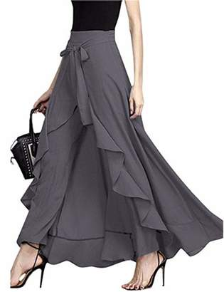 Lrud Women's Plain Ruffle Front Wide Leg Tie-Waist Maxi Long Overlay Pant Skirts