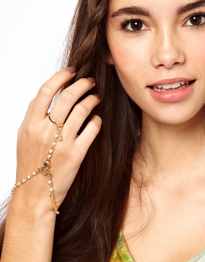 ASOS Faux Pearl Hand Harness