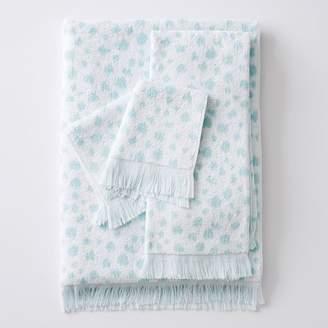 Pottery Barn Teen Ikat Dot Jacquard Towel, Pale Seafoam, Hand