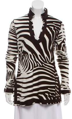 Tory Burch Long Sleeve Animal Print Sweater