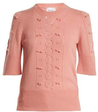 Barrie - Fluttering Lace Crew Neck Cashmere Sweater - Womens - Light Pink