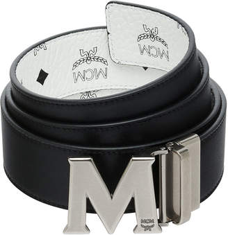 MCM Men's Visetos Reversible M-Buckle Monogram Belt