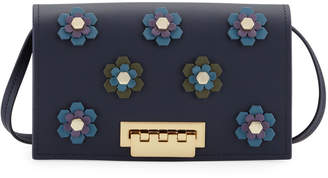 Zac Posen Earthette Floral Appliques Leather Crossbody Bag, Navy