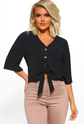 Pink Boutique Glam Francisco Black Button Front Blouse