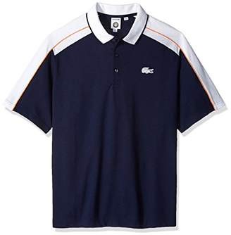 Lacoste Men's Short Sleeve Pique Fils with Colorblock and Contrast Piping Polo