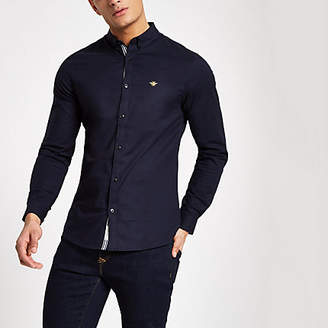 River Island Mens Navy muscle fit embroidered Oxford shirt