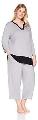 Arabella Women's Plus Size Tunic And Cropped Pant Pajama Set