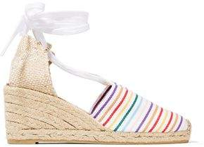 Castaner Lace-Up Striped Canvas Wedge Espadrilles