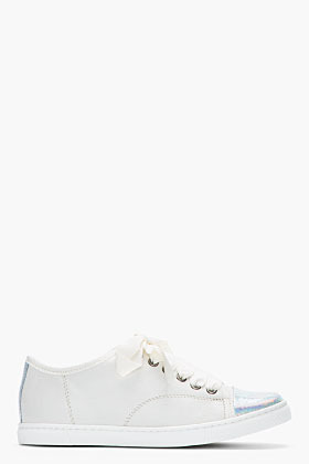 Lanvin Ivory Leather Holographic Python Captoe Sneakers