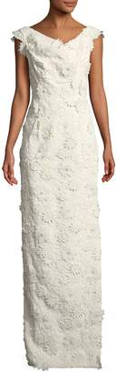 Black Halo Eve Jackie Anniversary Floral Lace Column Gown, White