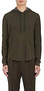 Vince MEN'S DOUBLE-FACED COTTON-WOOL HOODIE-OLIVE SIZE L
