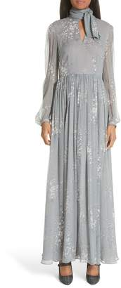 Co Floral Print Crinkle Chiffon Tie Neck Dress