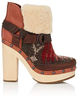 Woolrich WOMEN'S SHEARLING & LEATHER ANKLE BOOTS