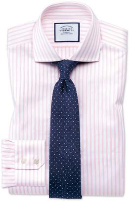 Charles Tyrwhitt Extra Slim Fit Spread Collar Textured Stripe Pink and White Cotton Dress Shirt Single Cuff Size 16.5/36