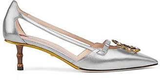 Gucci Women's Metallic Leather Pumps - Silver
