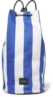 Leather-Trimmed Striped Canvas Backpack