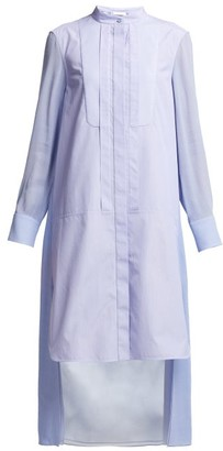 Chloé Pinstripe High Neck Cotton Poplin Shirtdress - Womens - Blue