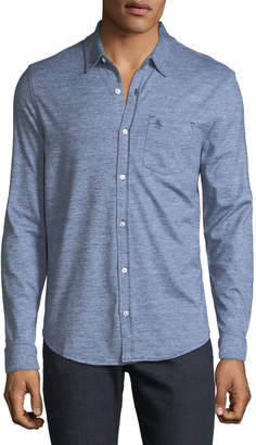 Original Penguin Men's Jaspe-Knit Sport Shirt, Blue