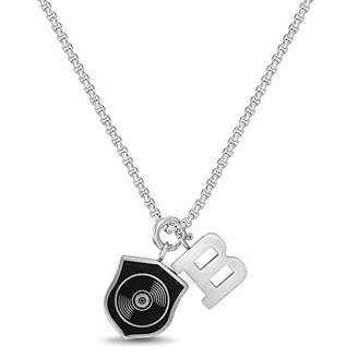 Ben Sherman Men's Black Shield and B Charm Pendant Necklace on Rolo Chain in Stainless Steel