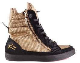 Ishikawa Women's Black/gold Leather Ankle Boots.