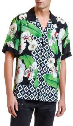 Dolce & Gabbana Men's Orchid-Print Short-Sleeve Sport Shirt
