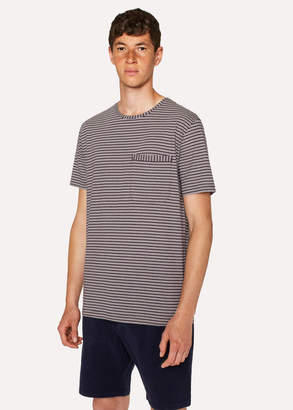 Paul Smith Men's Aubergine Stripe Cotton Pocket T-Shirt