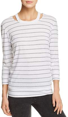 Andrew Marc Performance Striped Cutout Top